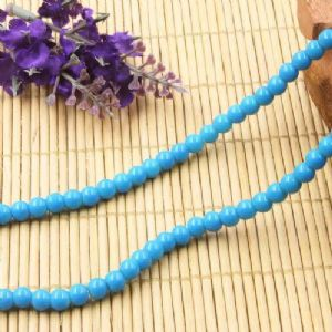 Beads, Glass, Blue , Round shape, Diameter 6mm, 20 Beads, [BHB0183]